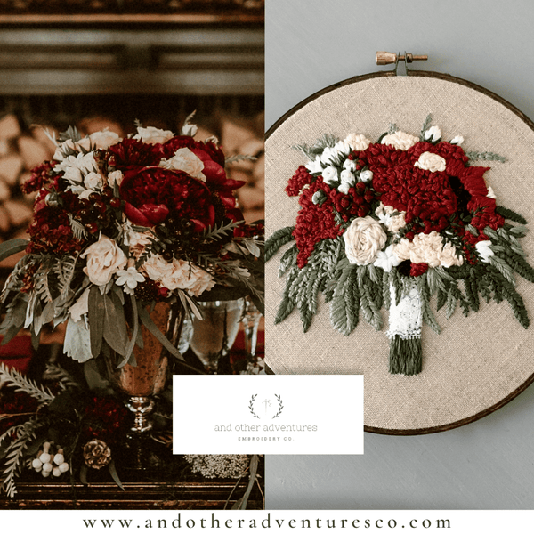 Dramatically Rich Rust-Red Hand Embroidered Wedding Bouquet by And Other Adventures Embroidery Co