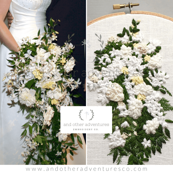 Cascading White Wedding Bouquet Embroidery Art by And Other Adventures Embroidery Co