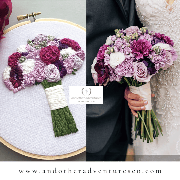 Elegant and Modern Purple Bridal Bouquet Embroidery | And Other Adventures Embroidery Co