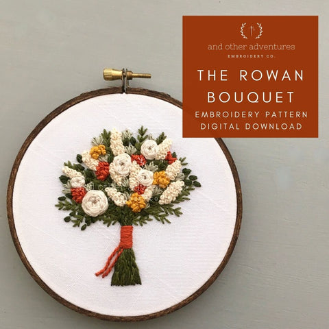 The Rowan Bouquet Hand Embroidery Pattern Digital Download Fall Bouquet   And Other Adventures Embroidery Co