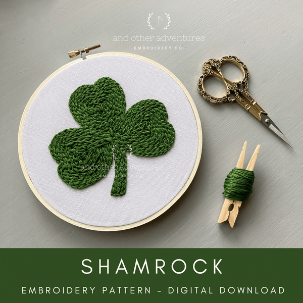 St. Patrick's Day Shamrock Hand Embroidery Digital Pattern | And Other Adventures Embroidery Co
