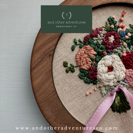Stunning Wine & Mauve Flower Embroidered Wedding Bouquet | And Other Adventures Embroidery Co