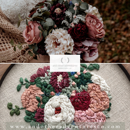 Dark & Moody Bridal Bouquet Embroidered Art | And Other Adventures Embroidery Co