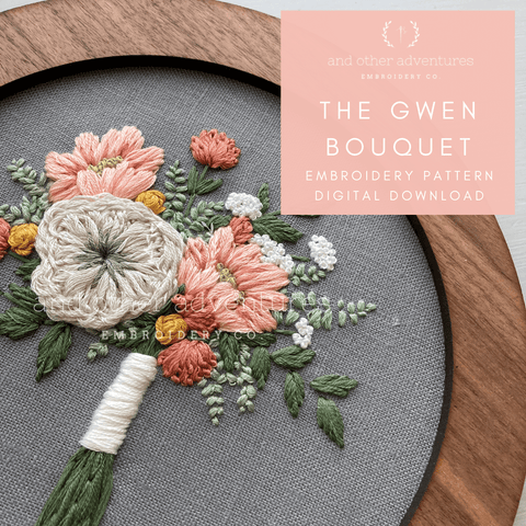 The Gwen Bouquet - Advanced Hand Embroidery Floral PDF Pattern | And Other Adventures Embroidery Co