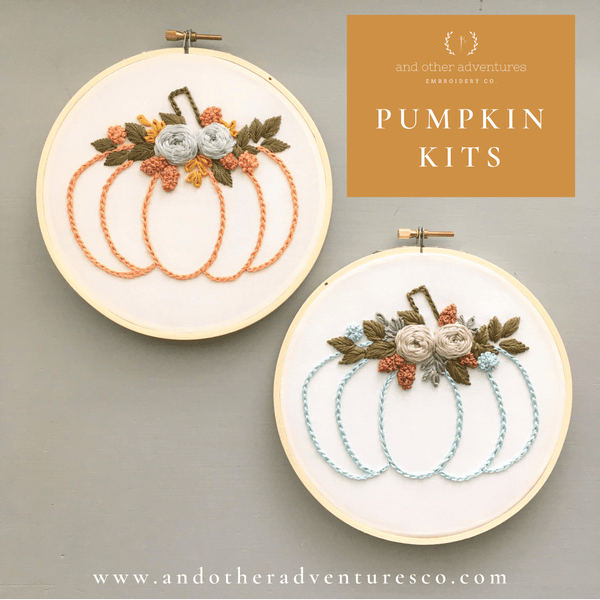 DIY Fall Flower Pumpkin Beginner Stitching Kits | And Other Adventures Embroidery Co