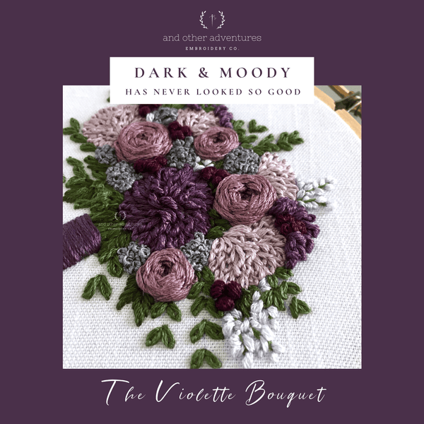 Dark and Moody has never look so good | Violette Bouquet Embroidery Pattern by And Other Adventures Embroidery Co