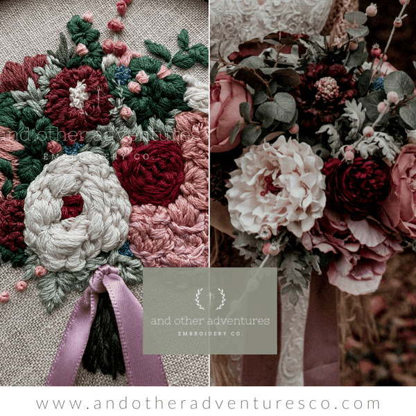 Stunning Dusty Rose & Wine Moody Bridal Bouquet | And Other Adventures Embroidery Co