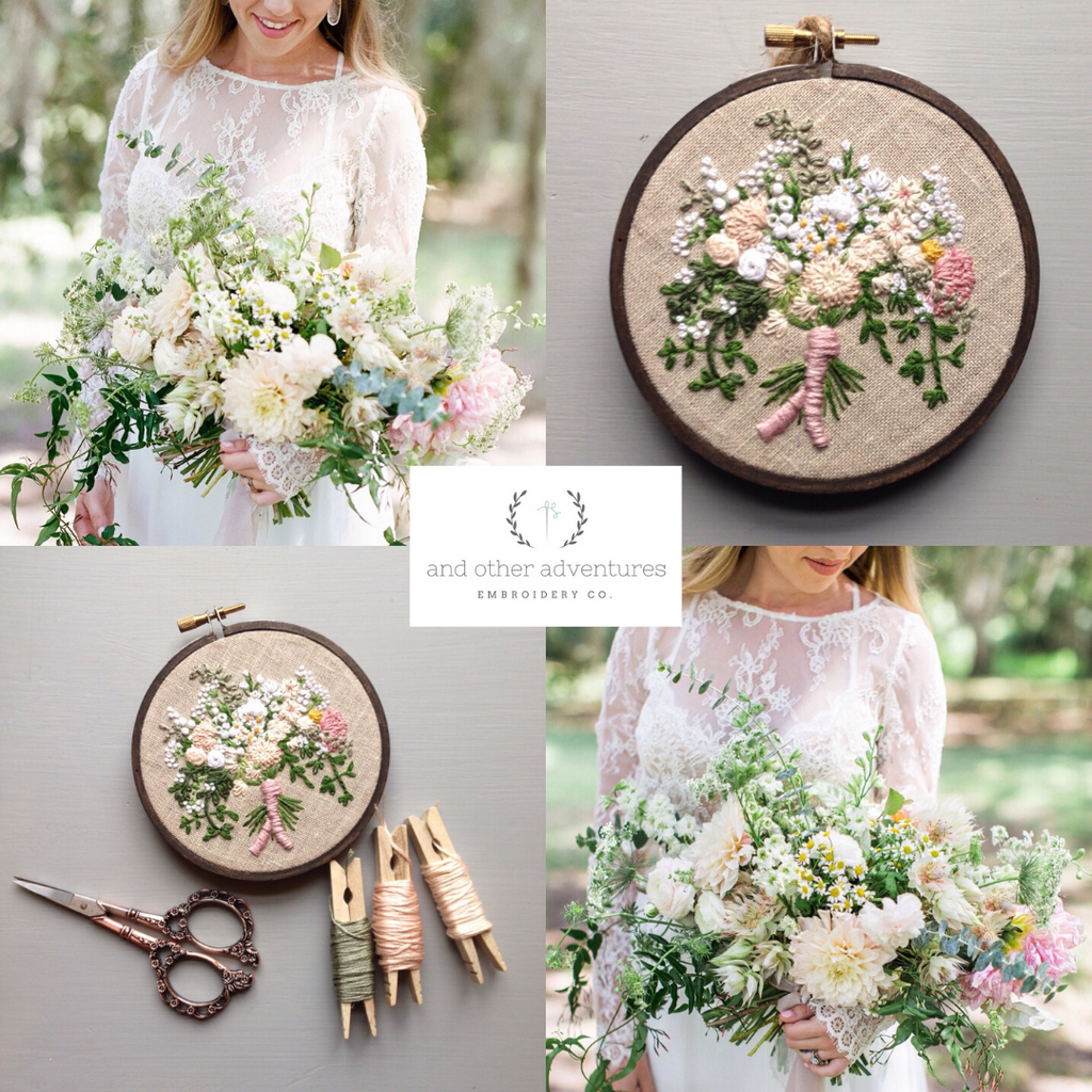 Dreamy Bridal Bouquet Embroidery Hoop Art for Wedding Gift by And Other Adventures Embroidery Co