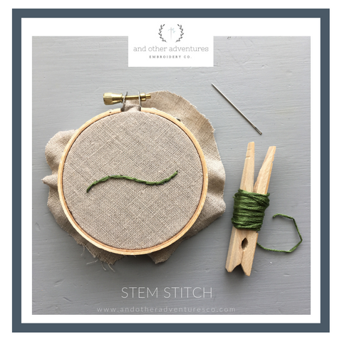 Stem Stitch Hand Embroidery Tutorial by And Other Adventures Embroidery Co