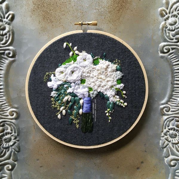 Hand Embroidered Boho bridal bouquet keepsake by And Other Adventures Embroidery Co
