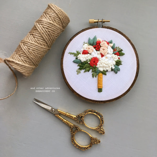 Hand Embroidered Bridal Bouquet Hoop Art | And Other Adventures Embroidery Co