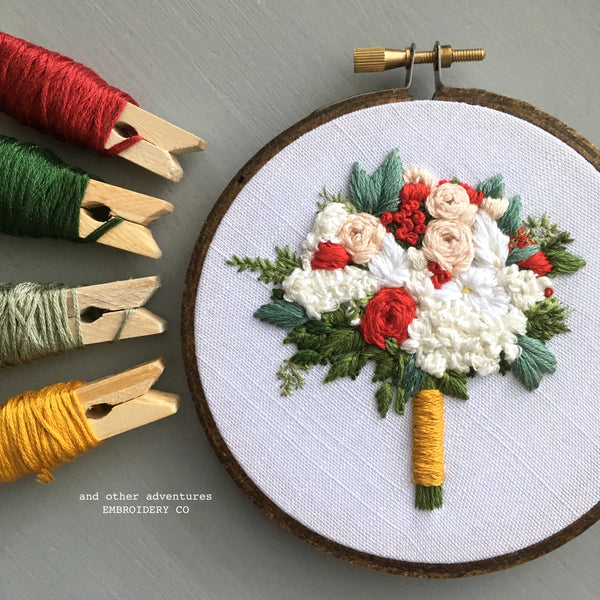 White Hydrangeas and Red Roses Embroidered Bridal Bouquet | And Other Adventures Embroidery Co