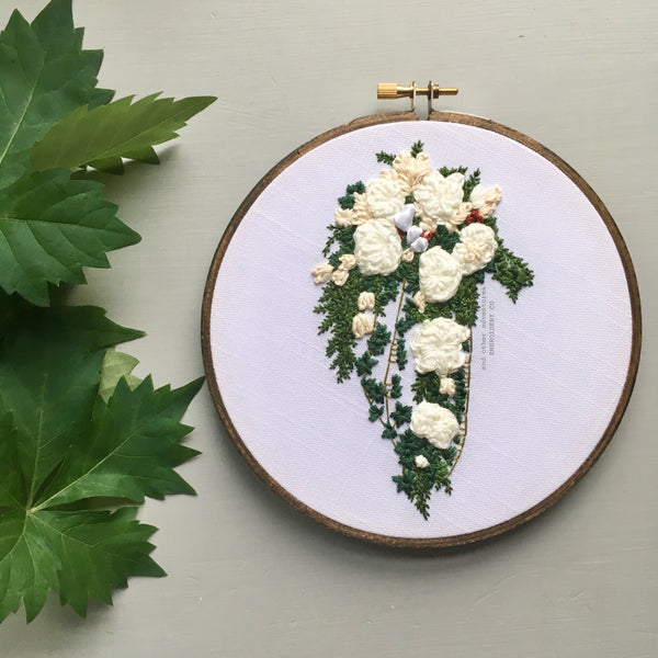 Cascading White Wedding Bouquet Embroidery By And Other Adventures Embroidery Co