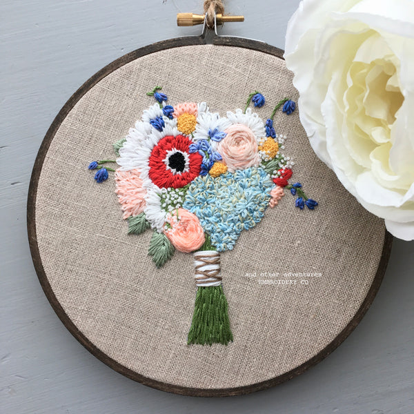 Hand Embroidered Red Poppy, hydrangea & rose wedding bouquet by And Other Adventures Embroidery Co