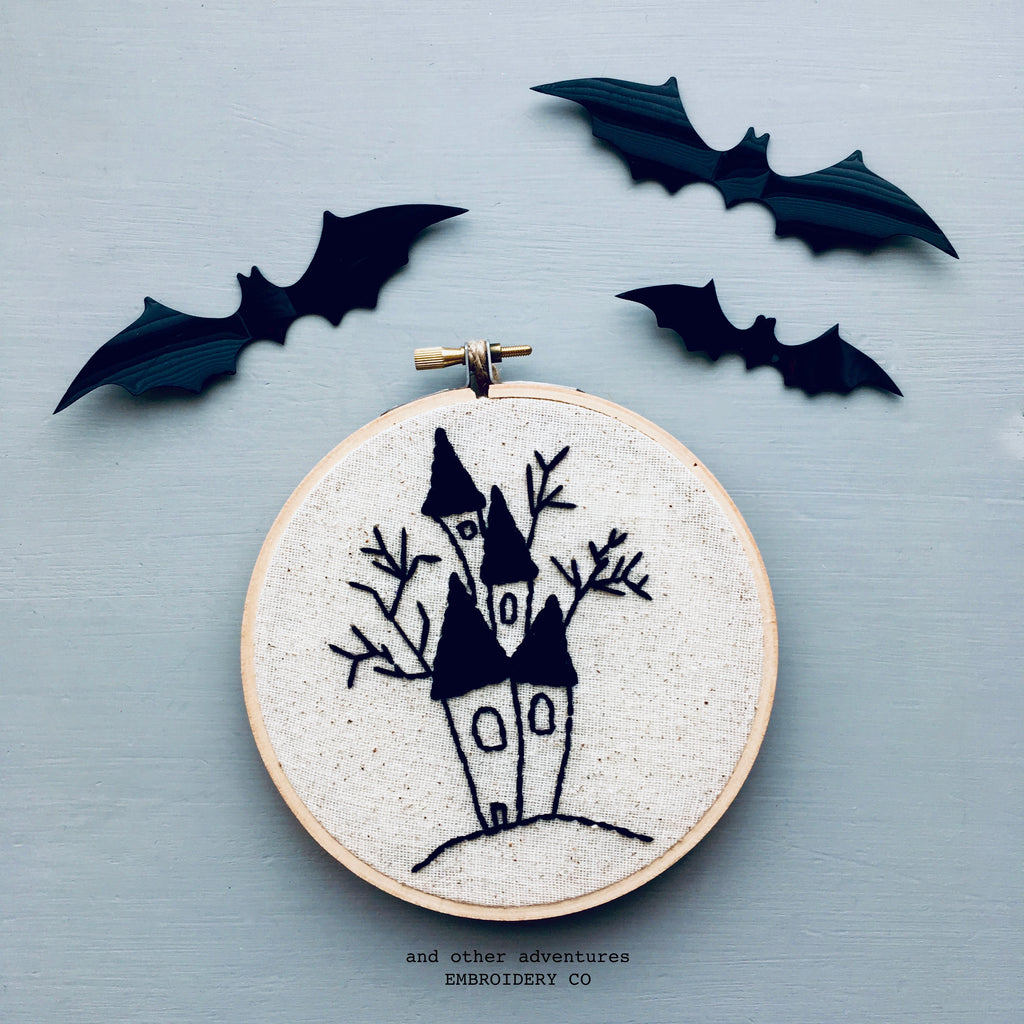 Halloween House Hoop Art Embroidery by And Other Adventures Embroidery Co