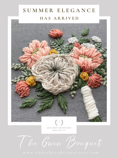 Summer Elegance has arrived - The Gwen Bouquet digital hand embroidery pattern | And Other Adventures Embroidery Co