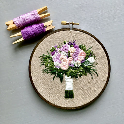 embroidered wedding bouquet