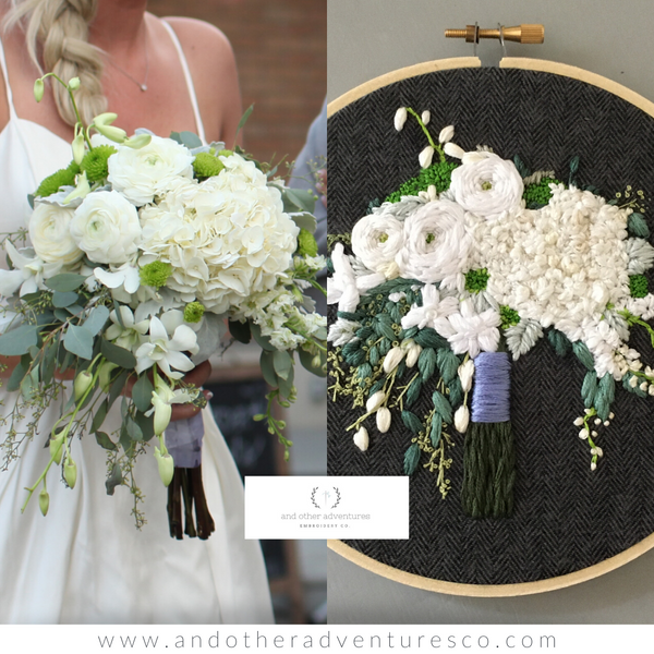 White boho wedding bouquet embroidered hoop art by And Other Adventures Embroidery Co