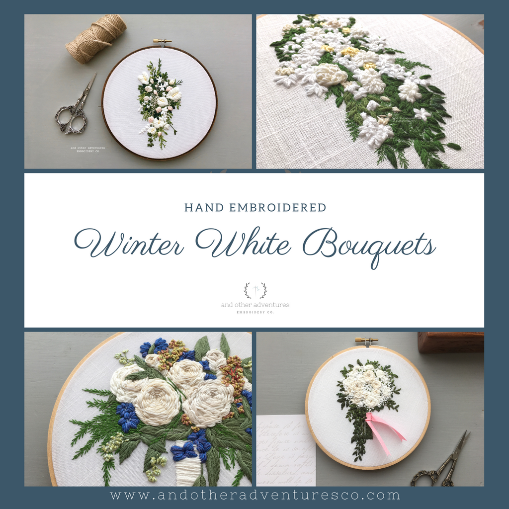 Hand Embroidered Winter White Flower Bouquet Art by And Other Adventures Embroidery Co