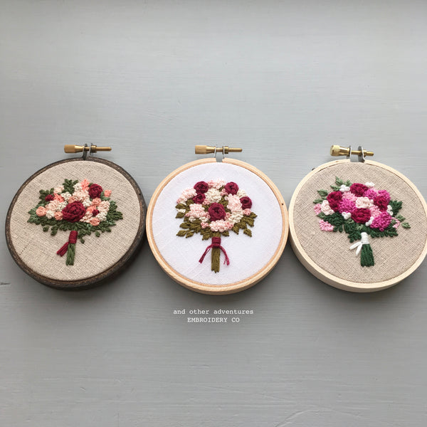 Hand Embroidered Valentine's Bouquet Hoop Art by And Other Adventures Embroidery Co