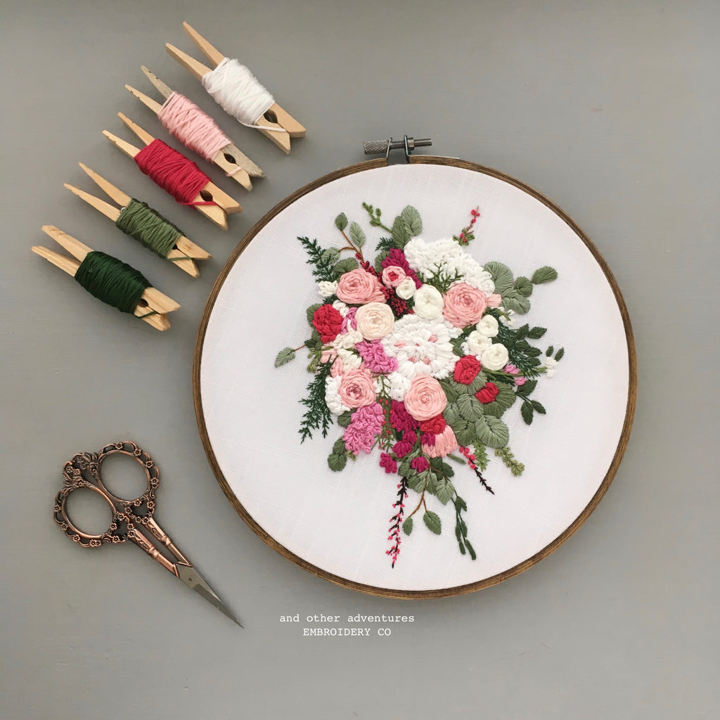 Wedding Bouquet Embroidery Art by And Other Adventures Embroidery Co