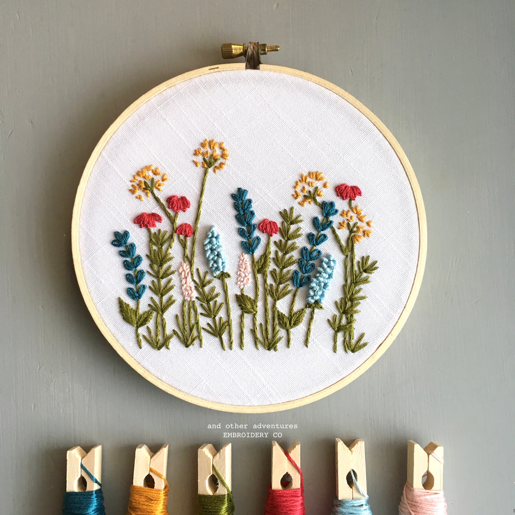 Bright Summer Meadow Embroidery Hoop Digital Pattern by And Other Adventures Embroidery Co
