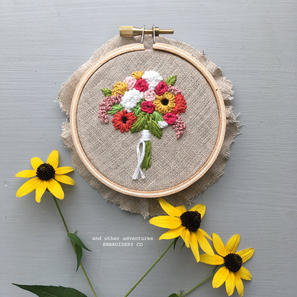 Summer Sunflower Bouquet Embroidery by And Other Adventures Embroidery Co