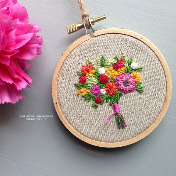 Bright Flower Bouquet Embroidery Hoop by And Other Adventures Embroidery Co