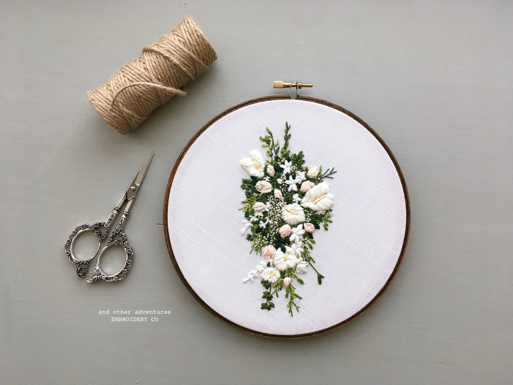 Cascading White Anthurium stephanotis Bridal Bouquet by And Other Adventures Embroidery Co