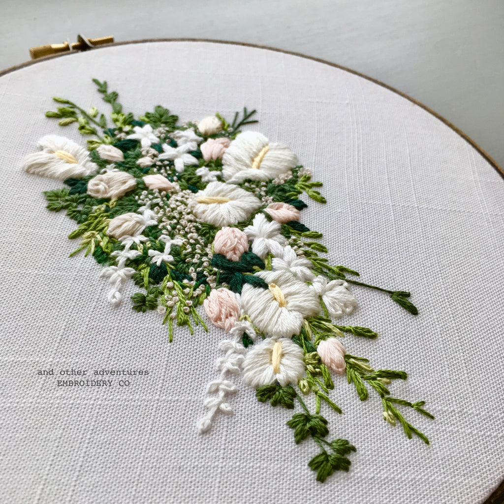 Cascading white, green, blush wedding bouquet by And Other Adventures Embroidery Co