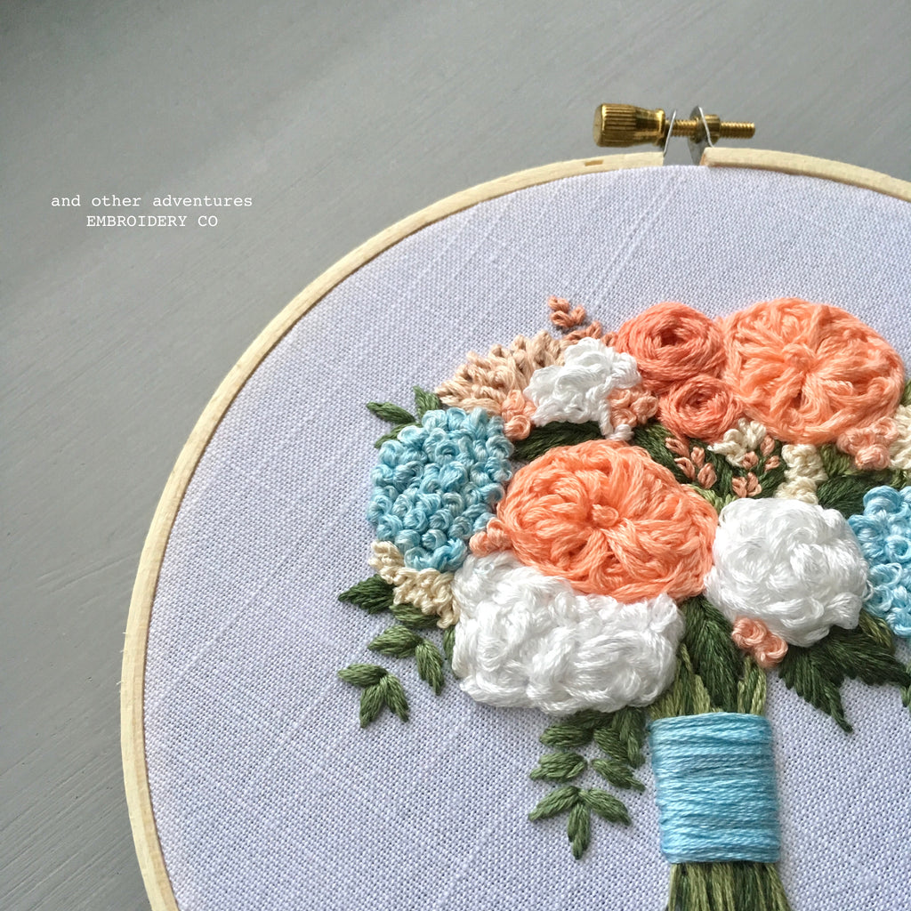 Peach Florals and Blue Hydrangeas Flower Bouquet Embroidery by And Other Adventures Embroidery Co