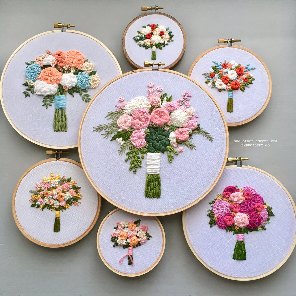Hand Embroidery Flower Bouquet Hoop Art by And Other Adventures Embroidery Co