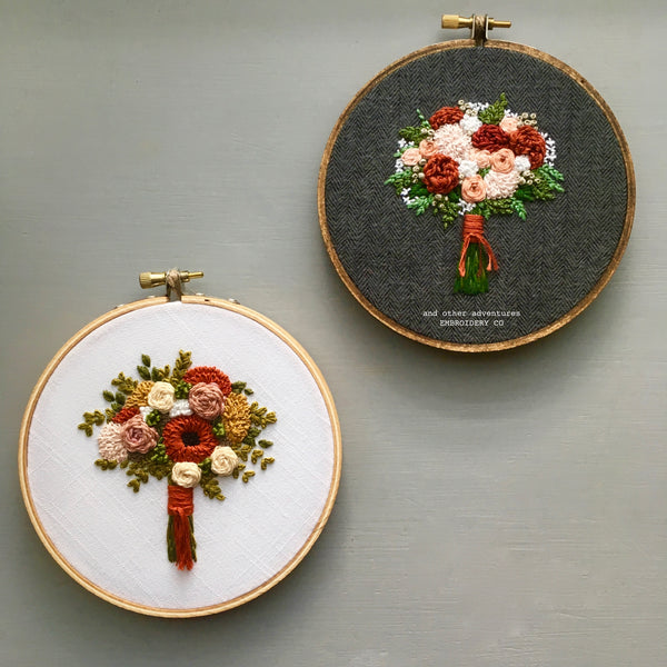 Hand Embroidered Fall Bouquet Hoops by And Other Adventures Embroidery Co