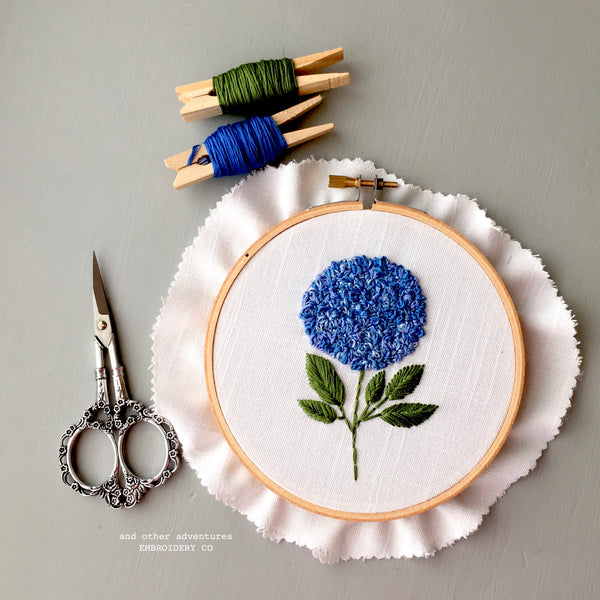 Digital Hand Embroidery Pattern Blue Hydrangea Flower by And Other Adventures Embroidery Co