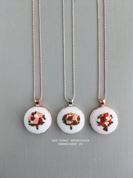 Fall inspired hand embroidered floral necklaces by And Other Adventures Embroidery Co
