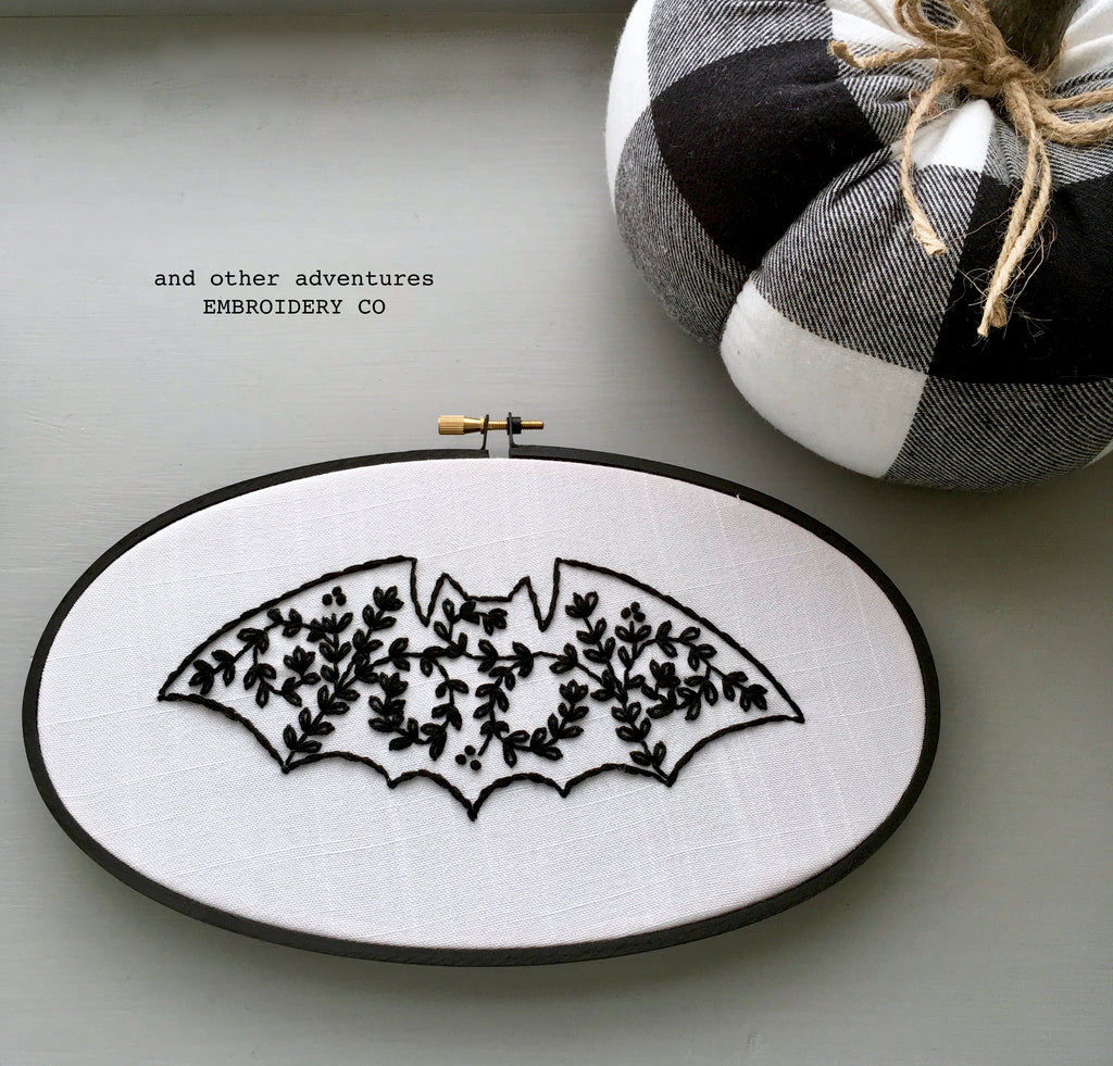 Halloween Embroidery Bat Art by And Other Adventures Embroidery Co
