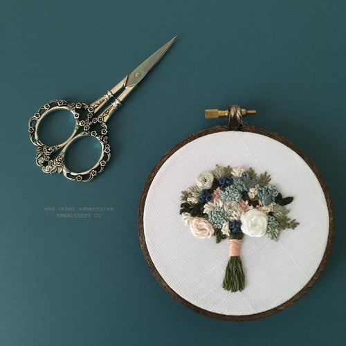 Hand Embroidered Winter Floral Bouquet by And Other Adventures Embroidery Co