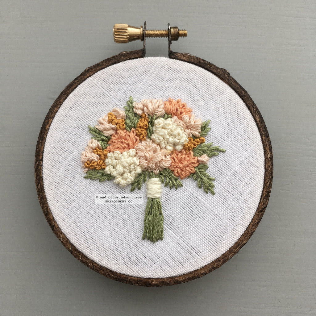 Pale Peach and Gold Embroidered Bouquet | And Other Adventures Embroidery Co