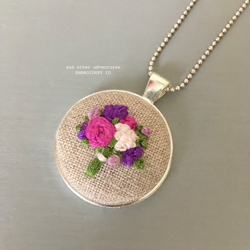 Purple + Pink Floral Embroidery Necklace