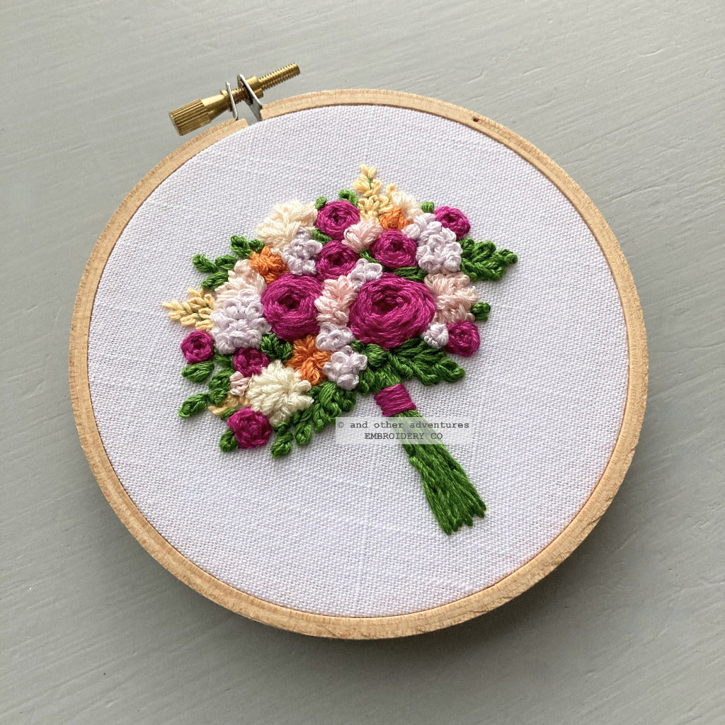 Bright Fuschia Bouquet Embroidery Art | And Other Adventures Embroidery Co