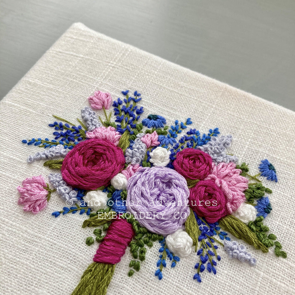 Cobalt Blue and Magenta Embroidered Flowers | And Other Adventures Embroidery Co
