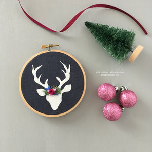 Hand Embroidered Deer Christmas Ornament by And Other Adventures Embroidery Co
