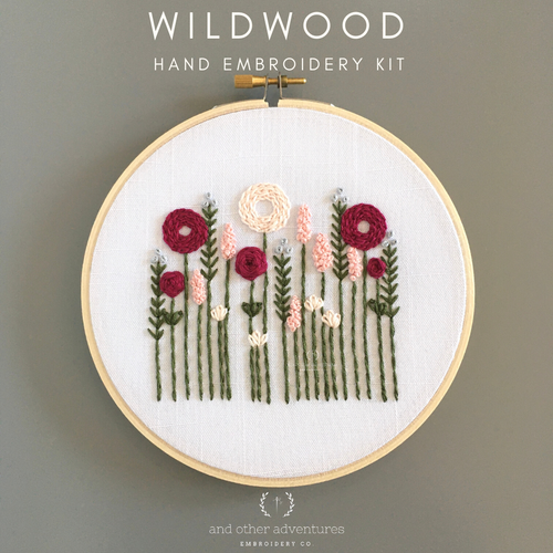 Beginner Hand Embroidery Kit - Wildwood in Pink - And Other Adventures Embroidery Co