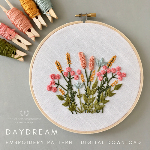 Beginner Hand Embroidery Pattern in Spring Colors by And Other Adventures Embroidery Co