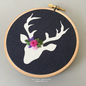Christmas Deer Embroidery Ornament by And Other Adventures Embroidery Co
