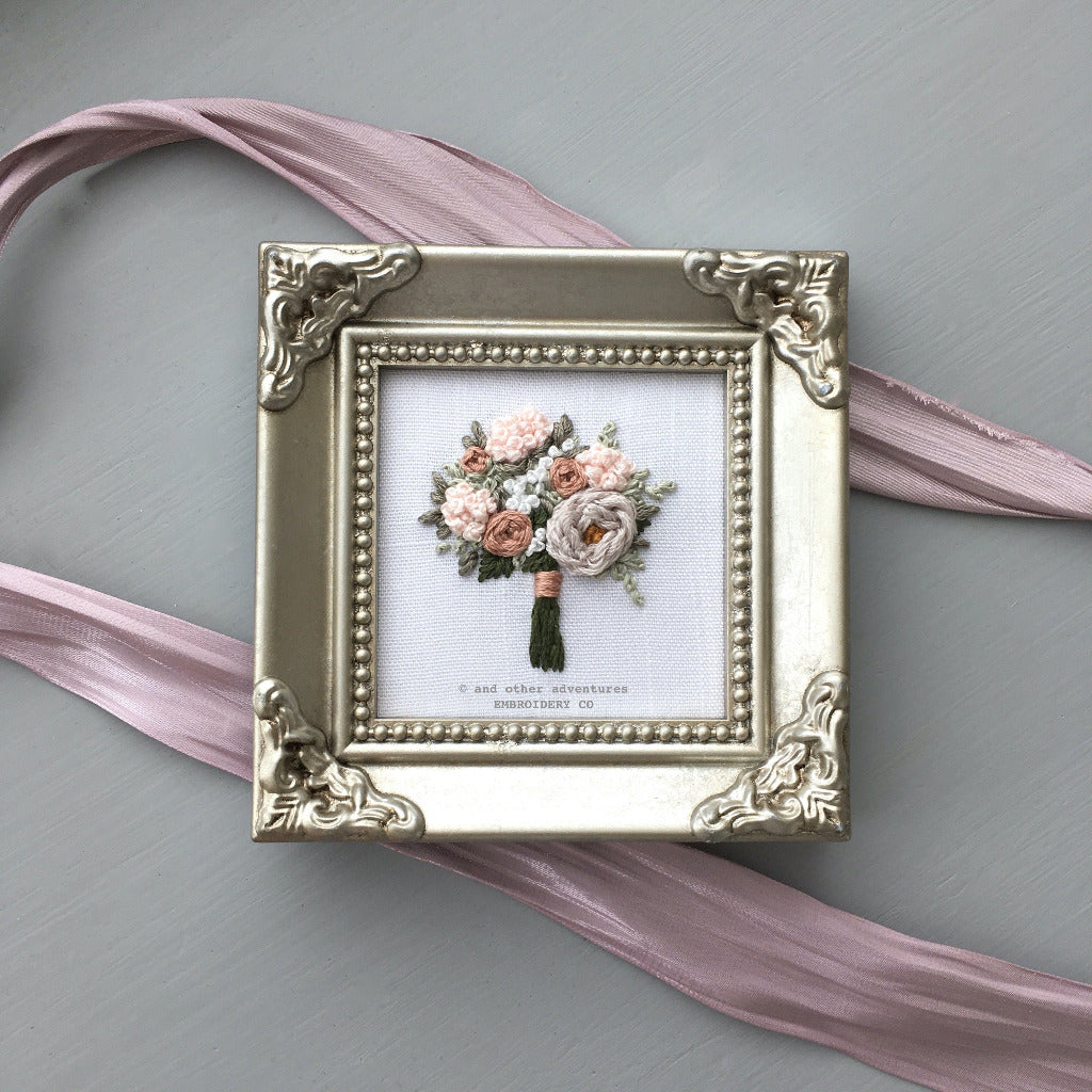 Framed Muted Pink Floral Bouquet Embroidery | And Other Adventures Embroidery Co