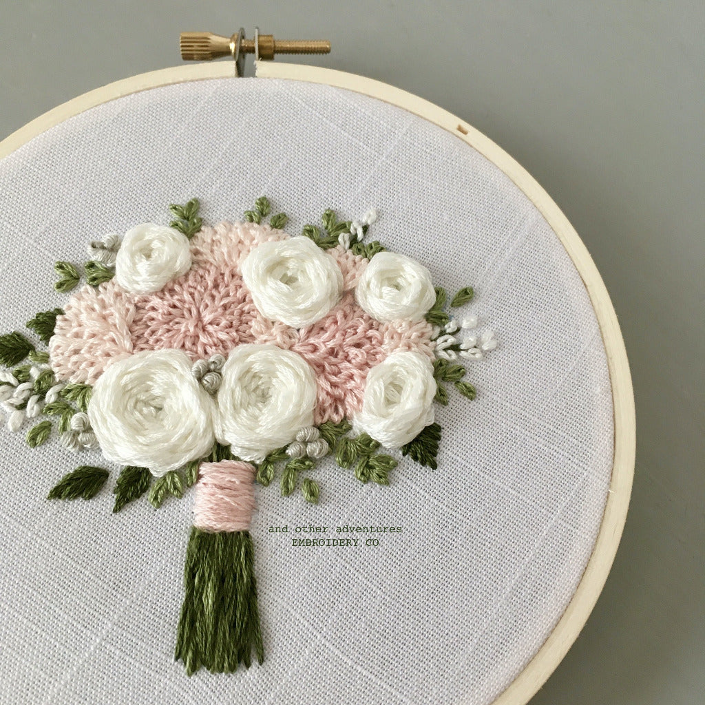 Hand Embroidered Pink and White Wedding Bouquet Hoop Art by And Other Adventures Embroidery Co