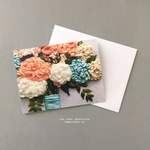 peach and aqua hand embroidered flower bouquet note card by And Other Adventures Embroidery Co