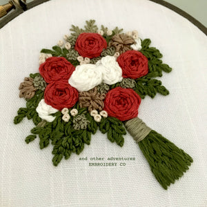Hand Embroidered Christmas Flower Bouquet Hoop Art by And Other Adventures Embroidery Co