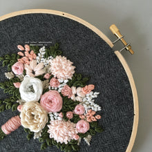 Pink and Ivory Floral Embroidery on Charcoal Tweed by And Other Adventures Embroidery Co